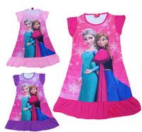 New 2014 summer frozen elsa anna princess girl print dress brand children casual kids Pajamas dress POLYESTER kids clothes