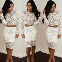 2014 New Women autumn elegant brief O-neck full sleeveslong lace casual dress evening dress party dress vestidos 1131