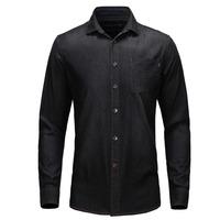 2014 Fashion Denim Autumn Casual Solid Black Cow Boy  Long Sleeve Shirt For Men M/L/XL/XXL/XXXL