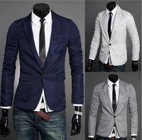 New 2014 Autumn Winter Fashion Men Suit Jacket fashion Slim A single grain buckle Men Pure Color Suit Jacket Free Shipping