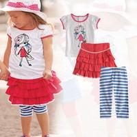 New Summer Baby Girls Clothing Set Cartoon O-Neck T-Shirt +Striped Pants+Skirt 3 Pcs Suits Children Clothes K4028 Dropshipping
