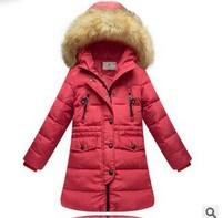 Retail 1 Pcs Children Baby Girls Winter Warm Coat Jackets For Girls Medium-Long Duck Down Faux Fur Hood Coat Outwear CC1474