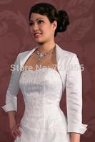 LA05 2014 Custom Made 3/4 Sleeves Satin Bridal Wraps For Weddings Simple and Cheap Bolero Women Jacket Wedding Accessories