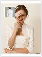 LA10 2014 Hot Sales High Neck Custom Made Wedding Coat Bolero Women 3/4 Sleeves Satin Bridal Jacket  Wraps Accessories