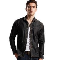 2014 Fashion Denim Autumn Casual Black Print  Cow Boy  Long Sleeve Shirt For Men  M/L/XL/XXL/XXXL