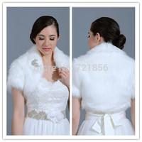 LA08 2014 In Stock New Arrival High Neck SHort Sleeve Faux Fur Wedding Bolero Women Bridal Jacket  Wraps Accessories