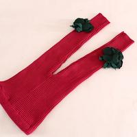 high quality children girl flower knitted wool leggings skinny pants