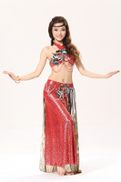 2014 the popular sexy leopard designed belly dance bra and belt costume free shipping