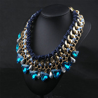 European 2014 Vintage Choker Necklaces Women Evening Dress Jewelry Exaggerated Crystal Glass Necklaces Pendants Choker Chunky