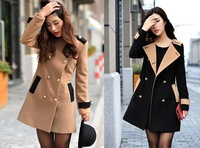 New 2014 Winter Women trench Wool Blended Long Thick Coat Double Breasted  Turn down Outerwear,Khaki black M, L