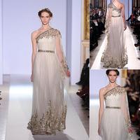 Gold Lace plus size long formal evening dress vestido de festa 2014 One-Shoulder Tulle long sleeve formal evening dresses 2014
