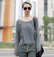 Women Cotton Pullover Sleeves T shirt Knit Sweater Loose blusas femininas Casual High Street Blouse Rock roupas Tees blusa Tops