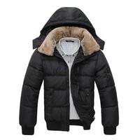 High quality 2014 Winter Beaut Men's Fashion Down Cotton Jacket Casual Slim Style Thick Cotton Detachable Hooded men's coat