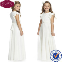 Goingwedding Wholesale Floor Length Ruffled Sleeves Pleated A-line Ivory Chiffon Flower Girl Dress Patterns HT030