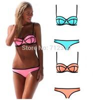 On Sale Sexy Fashion Summer Neoprene Bikinis Swimwear Women Swimsuit Set Push Up Bikini Set S-L Good Quality ABK88