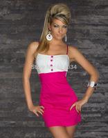 New Soft Sexy Lady Women Lace Slip Summer Dress Fashion Button Color Blocking Black/Blue/Pink Plus size Girl Dresses