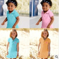 Free Shipping NEW Fashion 1PC/Lot Summer Baby Girls Cute Sport Colorful Stripe POLO Dress Baby Girl Cotton Fashion Sport Dress