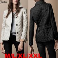 Lanluu 2014 Fashion New Autumn Brand Coat Plaid Quilting Wadded Women Cotton-Padded Parkas SQ878