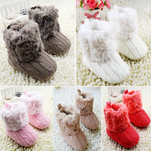 Infant Baby Toddler Crochet/Knit Fleece Boots Warm Knit Bootee Crib Shoes Socks(China (Mainland))