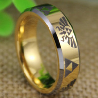 Cheap Price Free Shipping 2013 USA UK CANADA Hot Selling 7MM Legend of Zelda Golden Bevel Tungsten Ring Men's Wedding Band Ring