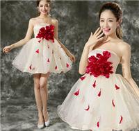 New Arrival Flower Appliques Strapless Short Bridesmaid Dress Princess Prom Dresses Female