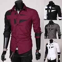 2014 Mens Slim Fit Casual Blouse Unique Neckline Stylish Long Sleeve Shirt  Turn-down Collar Men's  Luxury Dress Shirts