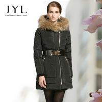 JYL 2014 Winter Fashion brand design luxury large mink fur collar hood down parkas women,high waist belt winter coat plus size