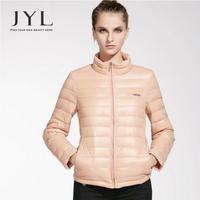 JYL Brand design turtleneck light fashion warm jacket winter 2014,slim fit short winter jackets women 90% duck down filling