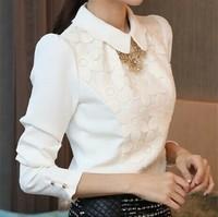 Lapel shirt sweater 2014 new autumn and T shirt Chiffon sleeves shirt lace shirt female