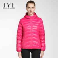 JYL Women winter clothing light fashion winter parka,stylish design women's jacket 2014 with hood,90% down jacket winter women