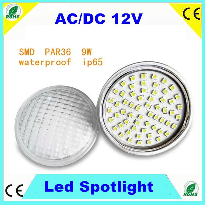 AC/DC 12V PAR 36 8W led spotlight 60pcs SMD5050 LED IP65 120degree for garden light or landscape lamp Warm white cold white(China (Mainland))