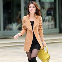 2014 Winter Fashion Warm Coat for Women Zipper Design 3 Colors Available Ladies' Slim Woolen Coat Jacket Outwear Free Shipping