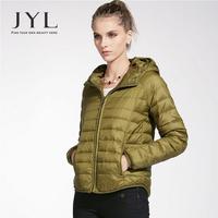 JYL Street fashion stylish design short fit winter jacket for women,light fashion 90% duck down fill woman winter jacket 2014