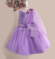 wholesale new arrive kid princess dress sequins shawl baby girls purple dress 7 color free shipping size 3-12 6pcs/lot 8019