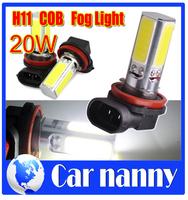 Car light source Free Shipping 4 Pcs Car 20 watt H11 LED Pure White Parking Head Fog Light Lamp Bulb 12V New COB Fog Light
