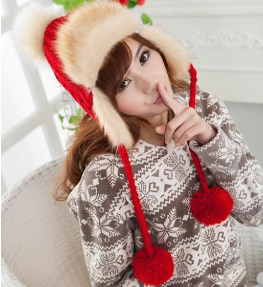 4H088 Vogue Women's Candy Beanie Knitted Caps Crochet Hats Fur Pompons Curling Ear Protect Winter Cute Casual Cap Women Beanies(China (Mainland))