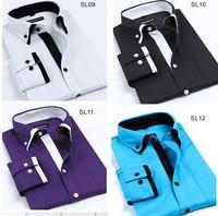 3pcs wholesale price Men's long-sleeve shirt fashion male jacquard double layer collar shirt men's clothing shirt