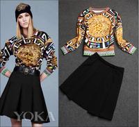 Europe Trend Women's Autumn Casual 2Pcs Skirt Suit 2014 New Fashion Long Sleeve Leopard Print Vintage Top+Pleated Skirt Suit Set