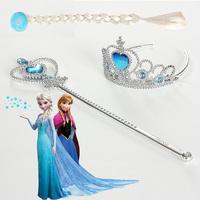 Hot Sale Frozen Accessories ( Crown Wig Magic Wand)Elsa Anna Children Aceessories Frozen Magic Wand Rhinestone Crown Girls Wig