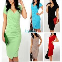 5835 2014 Newest Autumn Women's Short-Sleeve V-neck Elegant Casual Dress Formal Work Evening sexy Pencil Bandage Dress Vestidos