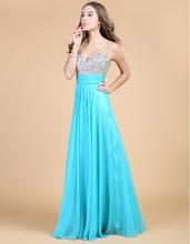 nueva moda de cristal v- cuello vestido de noche gasa de una- línea envío gratis vestidos de fiesta(China (Mainland))