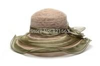 Flower Polypropylene Straw Wide Brim Hats Supplier Womens Ladies Summer Fashion Beach Sun Hat 2014 Church Party Cap Wedding Caps