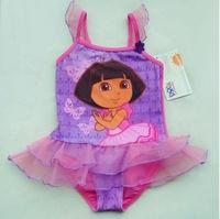 2014 New Girls' Swimsuit Sunbathing Kids Swimwear Explorer Dora Character 2-8 Ages Swimming Clothes Lovely Beach
