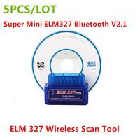 5PCS/LOT) 2014 Newest Super Mini ELM327 Bluetooth V2.1 OBD2 ELM 327 Wireless Scan Tool OBDii / OBD2 ELM 327 Bluetooth Rated