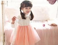 NEW ! 2014 girls sweater splicing gauze dress , kids tutu dress , 5pcs/lot   ZY05