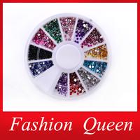 Nail Rhinestones Decorations,Mix 12colors 1.5mm Glitter Acrylic Flatback Nail Tip Gems Wheel,3d Manicure Tools Nail Art Supplies
