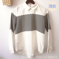 New Casual Vintage Style Clothes Clothing Gifts Collar Chiffon Black Stripe For Women Girls shirt tops blouses