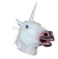 Hot Creepy Unicorn Mask Latex Animal Costume Theater Prop Toys Party Halloween