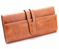 "Women's Premium Genuine Real Leather Designer Trifold Purse Fashion Wallet 8"" New With Box"