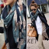 2014 Silk Hot Sale 100*180cm New Fashion Winter Hot sale big Flower Peddles Printed Woman Cotton scarf 80569
